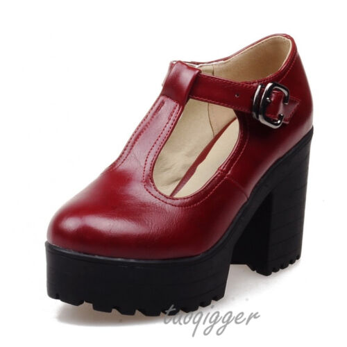 US 4-11 Womens Vintage Mary Janes Block Heel T-bar Lolita Shoes Pumps Casual New