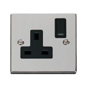 Electrique-Insert-Noir-Chrome-Poli-Interrupteur-13a-Prise-Simple-Gang-1G