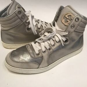 01af23de99f GUCCI 8.5 (9.5 US) Silver Grey GUCCISSIMA Leather Monogram High Top ...