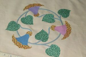 Vtg-Antique-Lg-Applique-Quilt-Block-Spring-Colors-Pillows-Table-Doll-Quilt-17-034