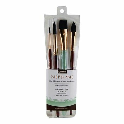 Princeton Artist Brush Neptune, Brushes for Watercolor Series 4750, 4 Piece Set