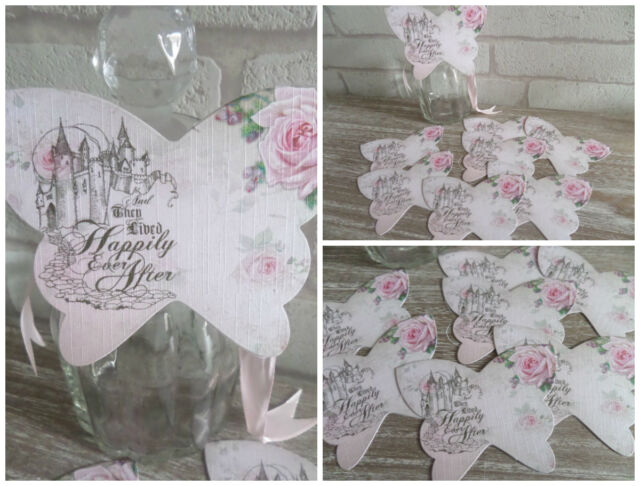 8 Happily Ever After Butterfly Table Cards Decoration,Wedding,Party,Prop