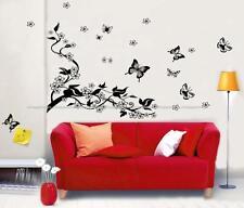 Grande MARIPOSAS VID FLORES Pegatinas Pared Mural Adhesivo Reutilizable y