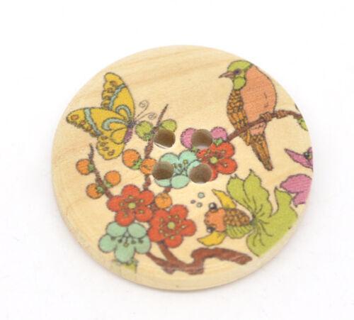 10 exquisite style japonais peint en bois boutons 30mm