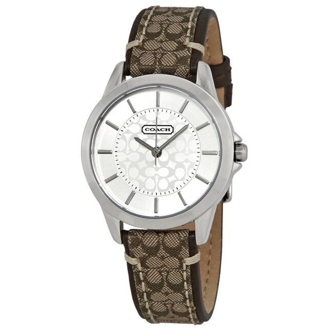 2022723a0 Coach Womens Classic 14501525 Signature Fabric Leather Strap Watch ...