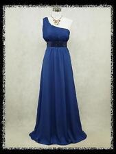 dress190 BLUE CHIFFON ONE SHOULDER SPARKLE EVENING PARTY WEDDING DRESS PROM 20