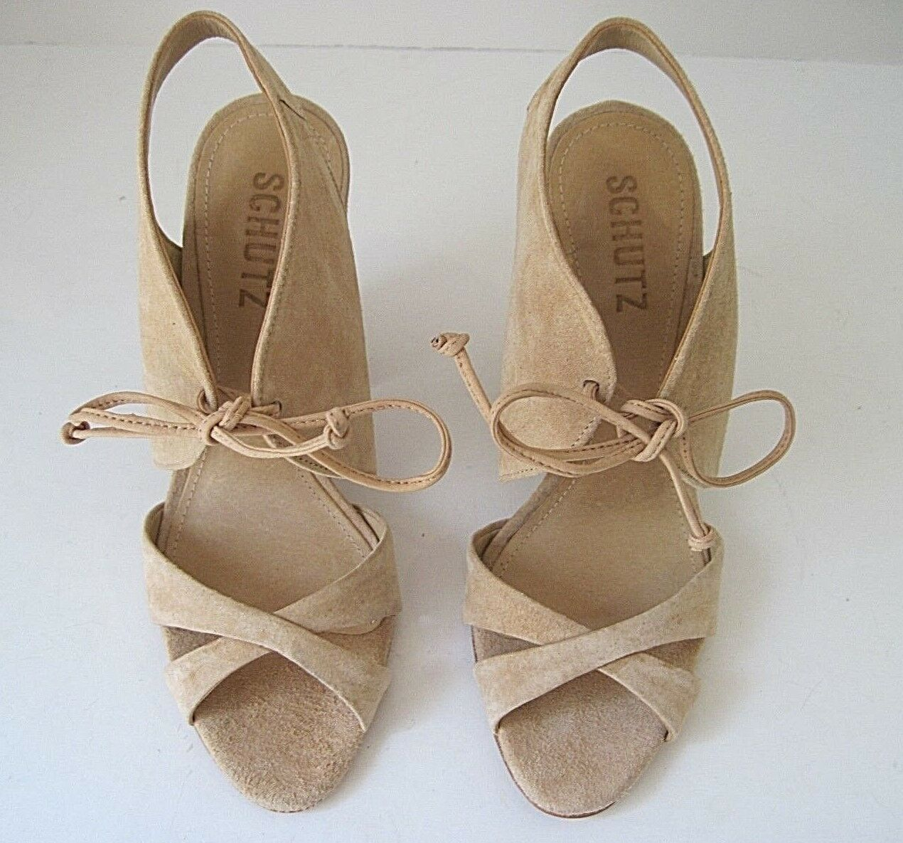 Schutz Beige Single Suede Lace Up High Block Heel Single Beige Sole Sandal Größe 6.5B, NEW bf94e6