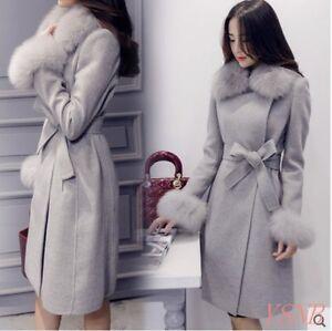 Women-039-s-Fur-Collar-Wool-Blend-Coat-Belt-Slim-Fur-Cuff-Double-Breasted-Overcoat