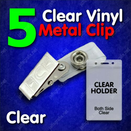 Clear Metal ID Badge Holder Clip with Clear Holder Vertical