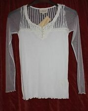 BNWT Very pretty RALPH LAUREN Cream Top Mesh sleeves Lace Pintuck detail XS UK 6