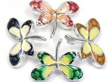 4 - 2 HOLE SLIDER SPACER OR CONNECTOR BEADS MULTI COLOR ENAMEL WINGED DRAGONFLY