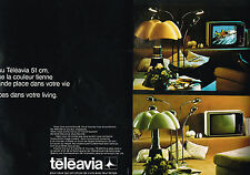 PUBLICITE ADVERTISING 104  1974   TELEAVIA  téléviseur 51 cms ( 2 pages)