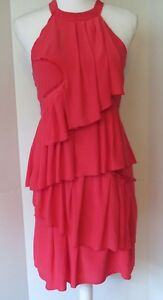BCBG-MAXAZRIA-Pink-Tiered-Ruffled-Open-Shoulder-Dress-Keyhole-Back-Size-0