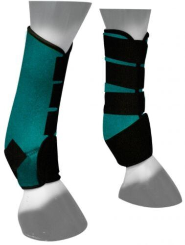 NEW HORSE TACK! Showman TEAL Neoprene Horse Sport Boots For Front or Hind Legs