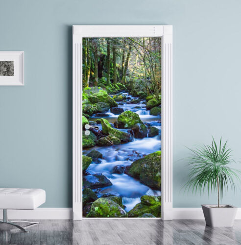 Türaufkleber 200x90cm Türtapete Tür Wilder Bach schwarz weiß und grüne Pflanze