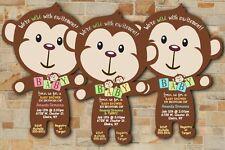 Safari Jungle Baby Shower Invitations Boy Girl Twin Mod Monkey Jungle SET OF 20