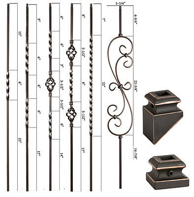 Box of 5 Copper Vein 16.1.4 Double Basket Iron Baluster for Staircase Remodel