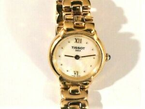 Vintage-TISSOT-1853-G327-Gold-Quartz-Femmes-Montre-bracelet