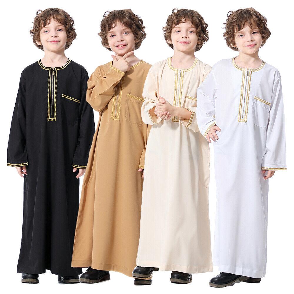 Arab Islamic Boys Abaya Kaftan Robe Saudi Kids Jubba Thobe Muslim Dubai Clothes