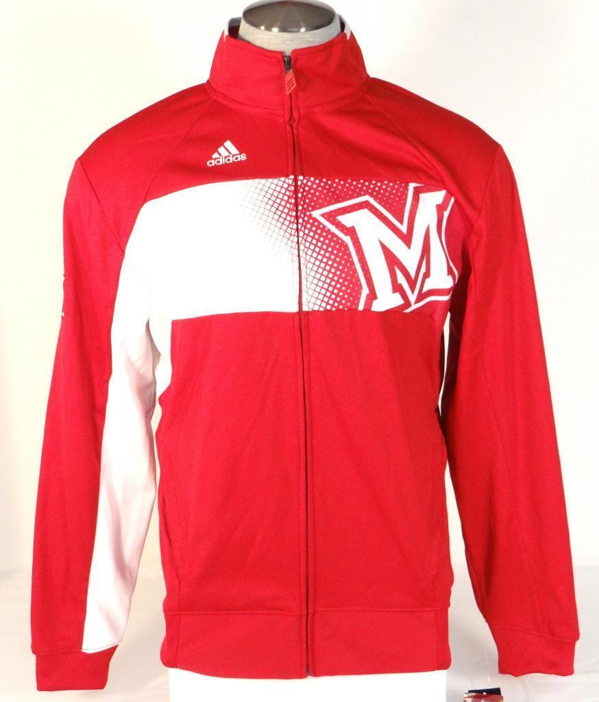 Adidas ClimaWarm Collegiate Miami University rot & Weiß Track Jacket Mens NWT