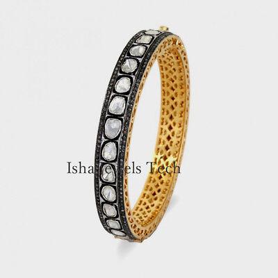 Victorian Bangle Jewelry Natural Uncut Diamond Polki /& Rose Cut Diamond Bangle Bracelet 18k Gold 925 Sterling Silver Bangle Bracelet Jewelry