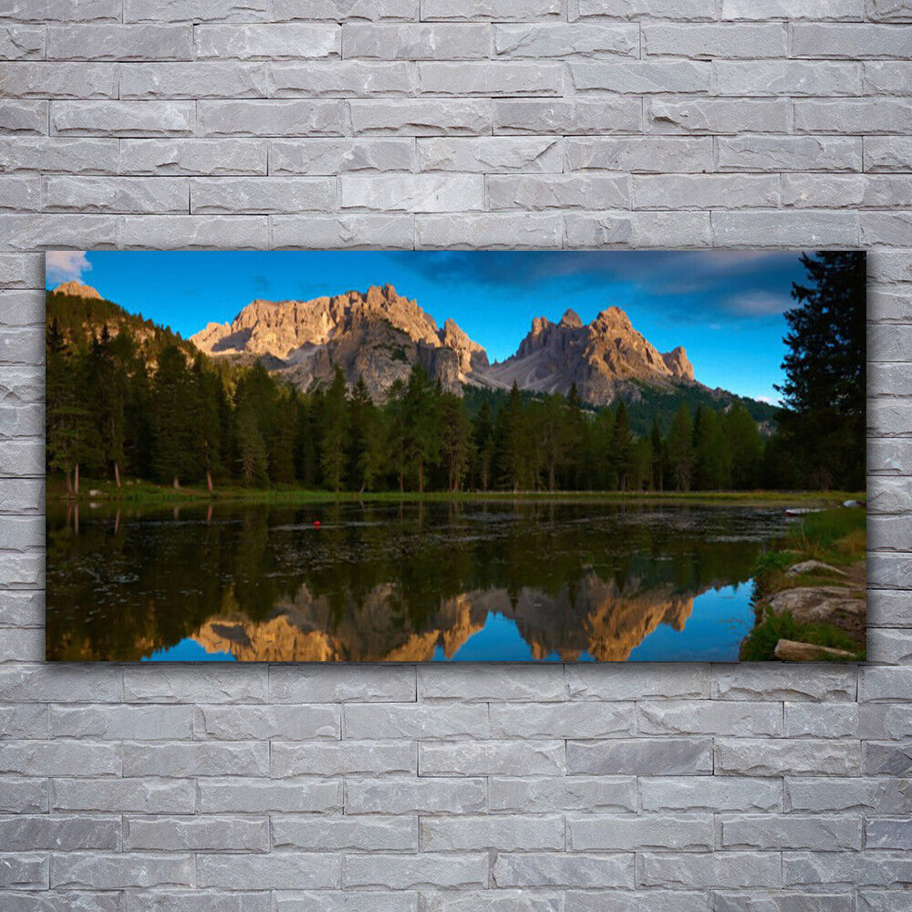 Canvas print Wall art on 120x60 Image Picture Forest Lake Landscape