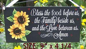 Sunflower Kitchen Blessing Prayer Sign Bless Food Sunflowers Wall Decor Ebay