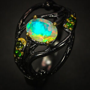 Vintage-Antique-Jewelry-Natural-Opal-Gemstone-Sterling-Silver-Ring-RVS305