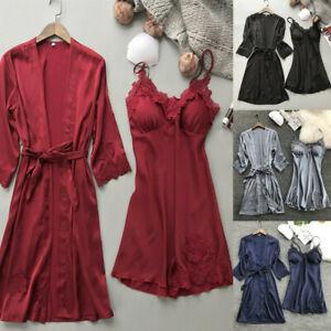 Sexy-Lingerie-femmes-soie-dentelle-robe-nuisette-chemise-de-nuit-vetement-Kimono