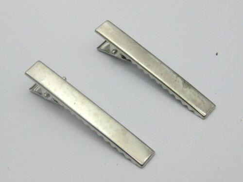 50 Argent Pince alligator clips cheveux 58 mm avec dents Bows