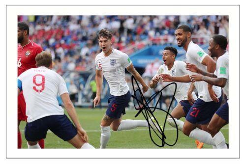JOHN STONES ENGLAND WORLD CUP 2018 SOCCER SIGNED AUTOGRAPH PHOTO PRINT