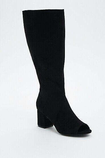 NIB NIB NIB Torrid Faux Suede Peep Toe Knee-High Stiefel (Wide Width & Wide Calf) Sz 8.5W 2194a3
