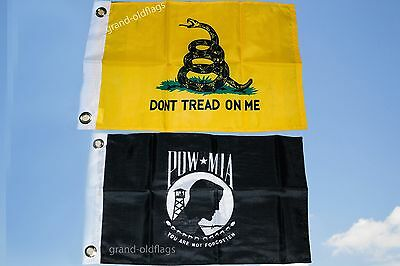LOT 12'' X 18'' U.S. POW & US GADSDEN DONT TREAD ON ME TEA PARTY FLAG