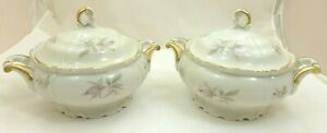 RARE-2-EDELSTEIN-Maria-Theresia-GOLD-TRIM-Bowls-COVERED-Serving-DISHES-Flowers