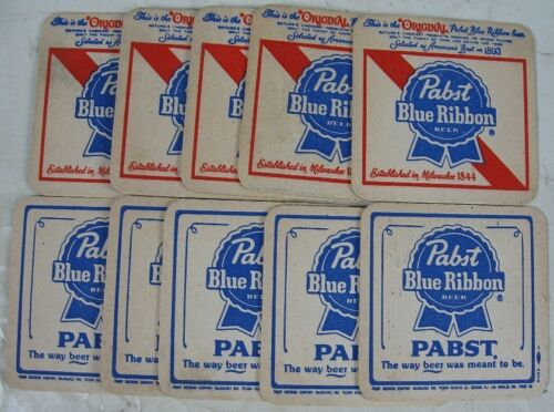 10 Vintage Beer Coasters Red White & Blue Pabst Blue Ribbon Beer 1844