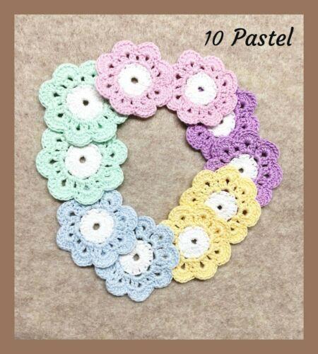 Crochet flower mini doily patch applique sew on notion dollhouse 100/% cotton