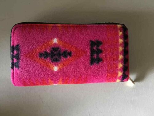 native american double zipper wallet with long straps