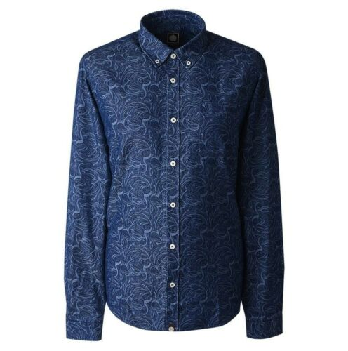 NUOVO Pretty Green drakeley Foglia Stampa Camicia Blu XL RRP £ 80 A7GMU54239156 Slim Fit