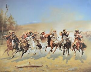 Dash-For-The-Timber-by-Frederic-Remington-Western-Cowboy-Horses-Print-16x20-IMP