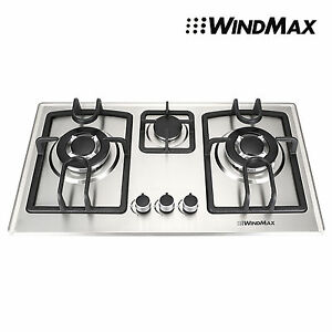 Image Is Loading WINDMAX Home 70cm 3 Burner Stainless Steel Silver
