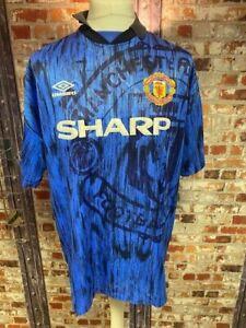 Original Vintage 1992/93 Umbro Manchester United Away Shirt Blue Size XL