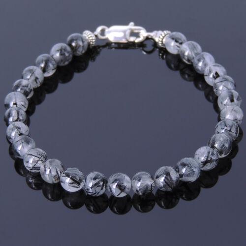 Natural Raw Energy Handmade Bracelet Black Rutilated Quartz Reiki Chakra Stones