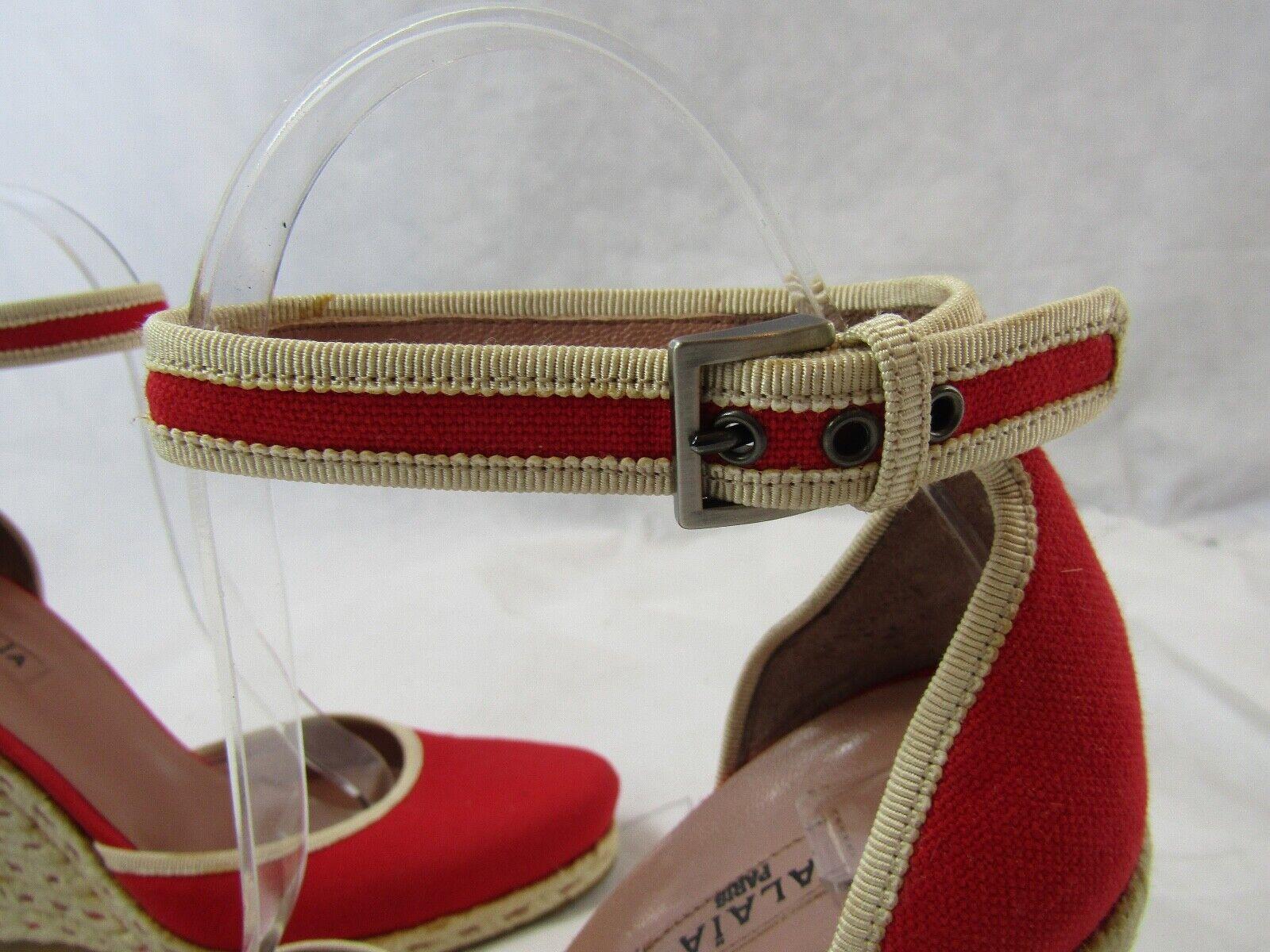 Azzedine Alaia Red Espadrille Wedge Size 37.5 Ret… - image 7