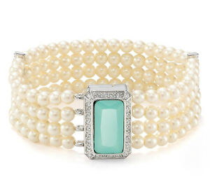 65-Carolee-Silver-Tone-COLOR-POP-Mint-Stone-Four-Row-Glass-Pearl-Bracelet-NEW