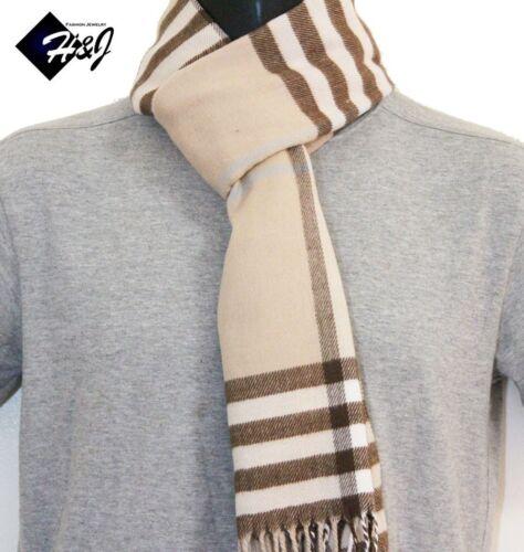 Men/'s Women/'s Cashmere Feel Scarf//Beige Coffee Large Stripe Plaid*100/%Acrylic