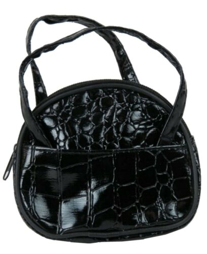 """Black Faux Alligator Tote Purse for 18/"""" American Girl Size Doll"""