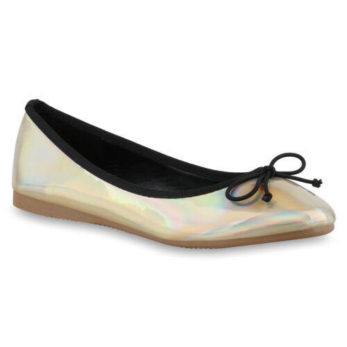 895072 Damen Ballerinas Slipper Flats Lederoptik Schuhe Schleifen Trendy