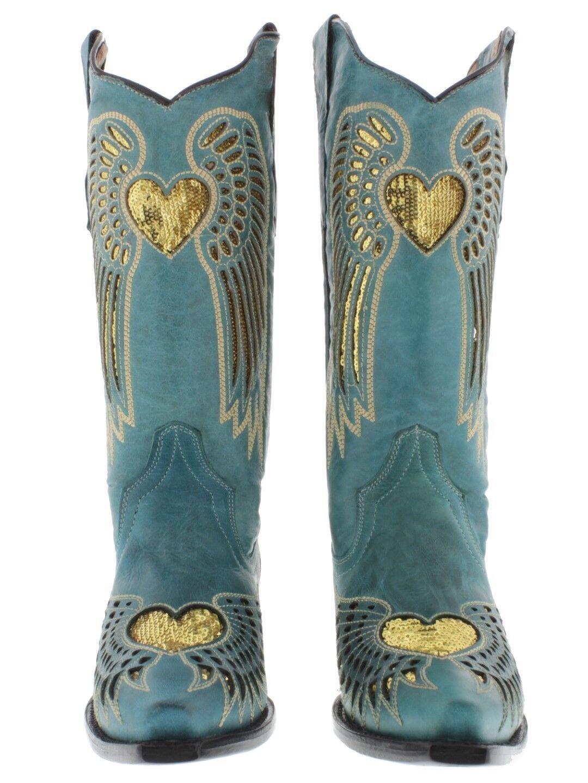 Vestido Vaquera Para Mujer Lentejuelas Corazón oro Turquesa Cuero Vaquera Vestido botas Puntera En Punta d1b88b