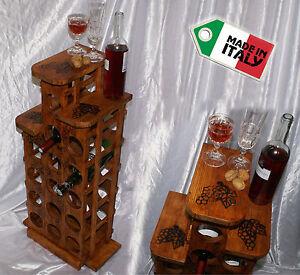 Cantinetta portabottiglie da vino cantina legno porta 15 bottiglie liquore caffè GWYWbptM-07135408-612551137