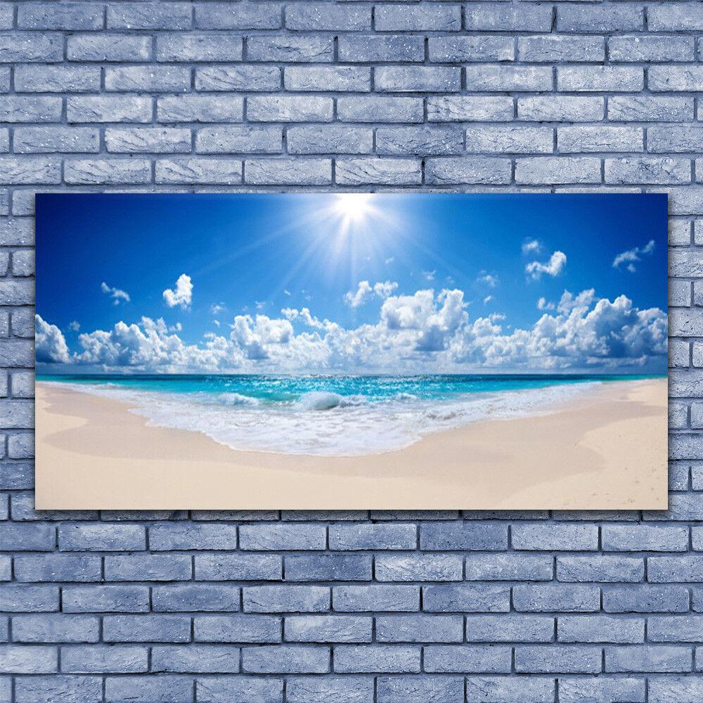 Leinwand-Bilder Wandbild Leinwandbild 140x70 Strand Meer Sonne Landschaft